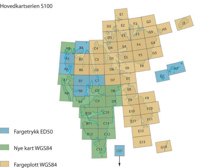 Inndeling Polarinstituttets Svalbardkart 1:100 000 serien